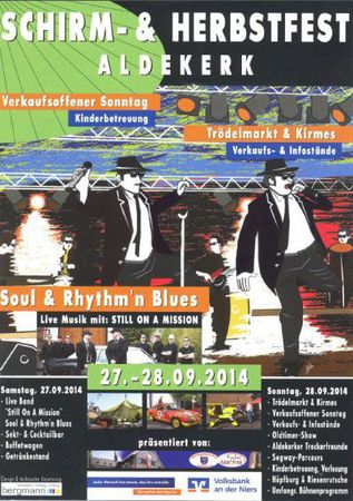 Still on a mission (alias Blues Brothers) spielen auf dem Aldekerker Schirmfest am 27.9.2014